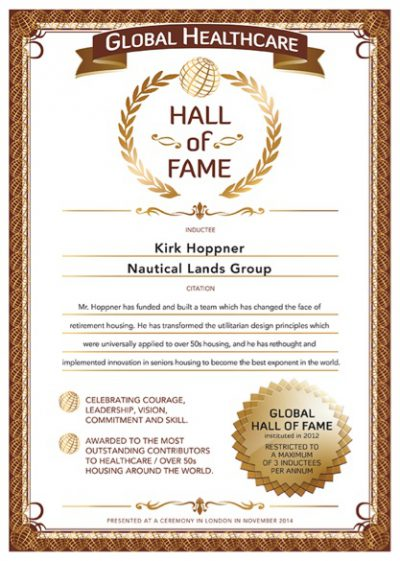 Globals Over 50s Hall Of Fame Certificate 2014